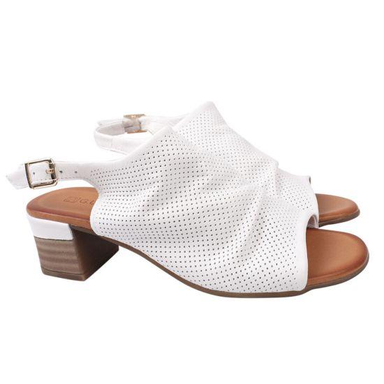 Босоніжки жіночі з натуральної шкіри, на великому каблуці, з відкритою п'ятою, колір білий, Guero