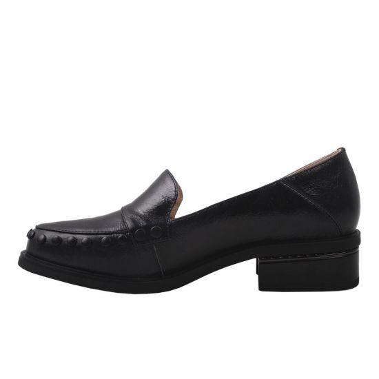 Туфлі жіночі з натуральної шкіри, на низькому ходу, чорні, Brocoly