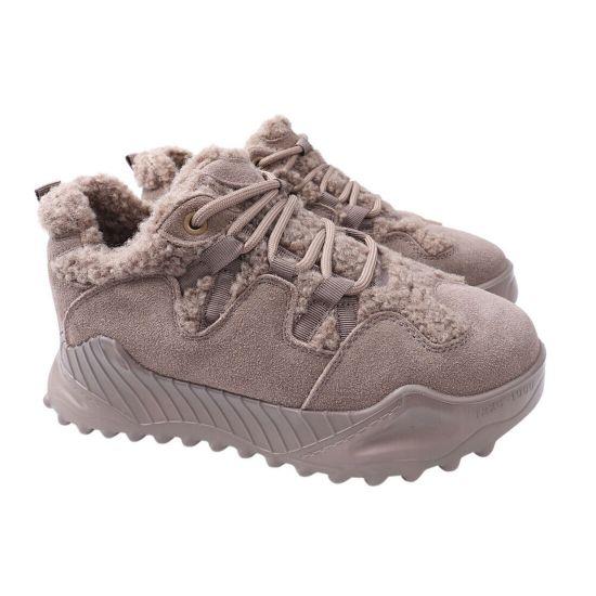 Кросівки жіночі з натуральної замші, на платформі, на низькому ходу, капучино, Arees