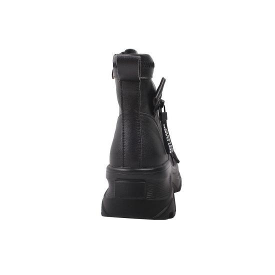 Кросівки жіночі з натуральної шкіри, на платформі, чорні, Li Fexpert