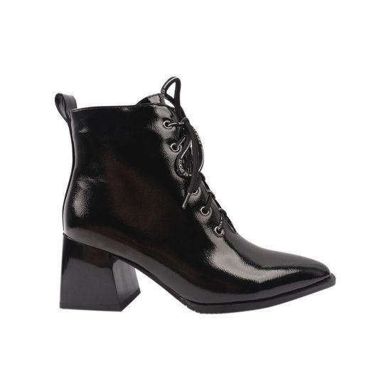 Ботильйони жіночі з еко лакової шкіри, на великому каблуці, на шнурівці, чорні, Stefaniya Nina