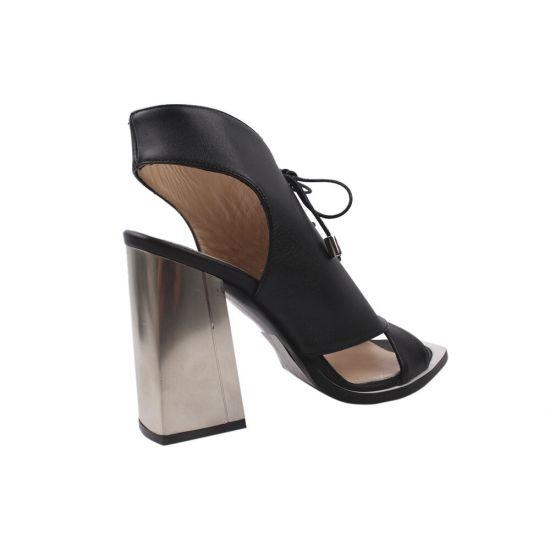 Босоніжки на каблуці жіночі Lottini натуральна шкіра, колір чорний 164-20LB