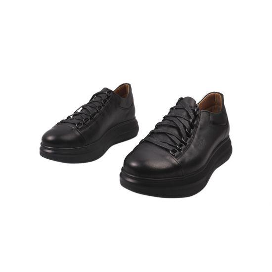 Кеди жіночі з натуральної шкіри, на низькому ходу, на шнурівці, колір чорний, Україна Vadrus