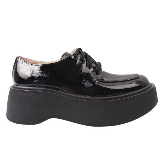 Туфлі жіночі з натуральної лакової шкіри, на платформі, на шнурівці, колір чорний, Україна Vadrus
