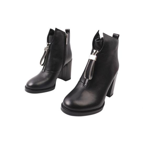 Ботильйони жіночі з натуральної шкіри, на великому каблуці, колір чорний, Erisses 914-21DH