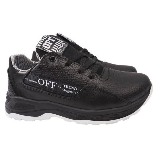 Кросівки чоловічі з натуральної шкіри, на низькому ходу, на шнурівці, чорні, Україна Cros Sav