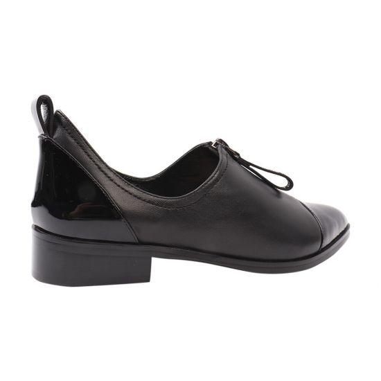 Туфлі жіночі з натуральної шкіри, на низькому ходу, чорні, Angelo Vani