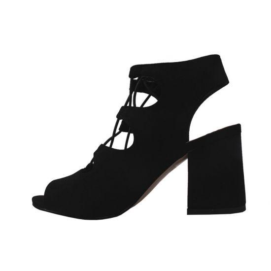 Босоніжки на каблуці жіночі Aiformaria еко замш, колір чорний