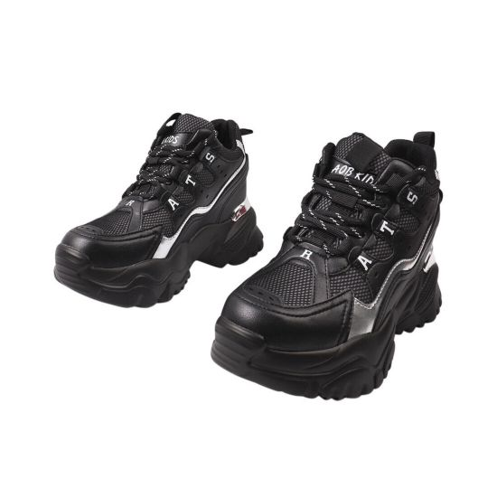 Кросівки жіночі з натуральної шкіри, на платформі, на шнурівці, чорні, Li Fexpert