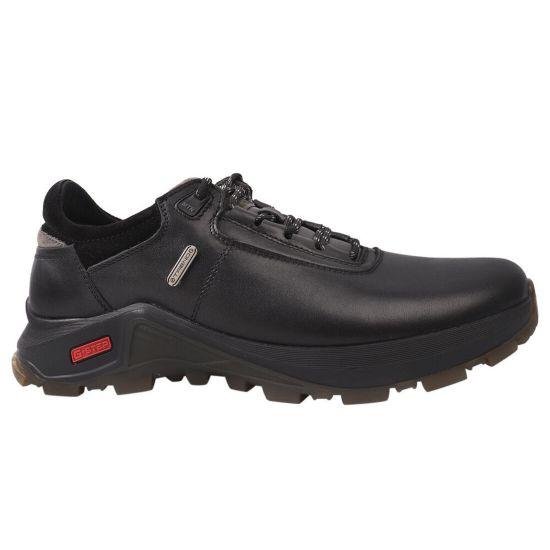 Туфлі спорт чоловічі з натуральної шкіри, на низькому ходу, на шнурівці, чорні, Falcon