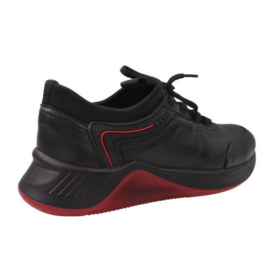 Кросівки чоловічі з натуральної шкіри, на низькому ходу, на шнурівці, колір чорний, Україна Belvas