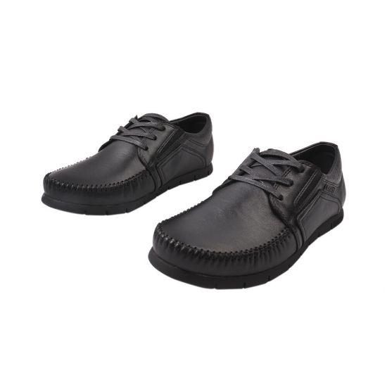 Туфлі чоловічі з натуральної шкіри, на низькому ходу, на шнурівці, колір чорний, Україна Belvas