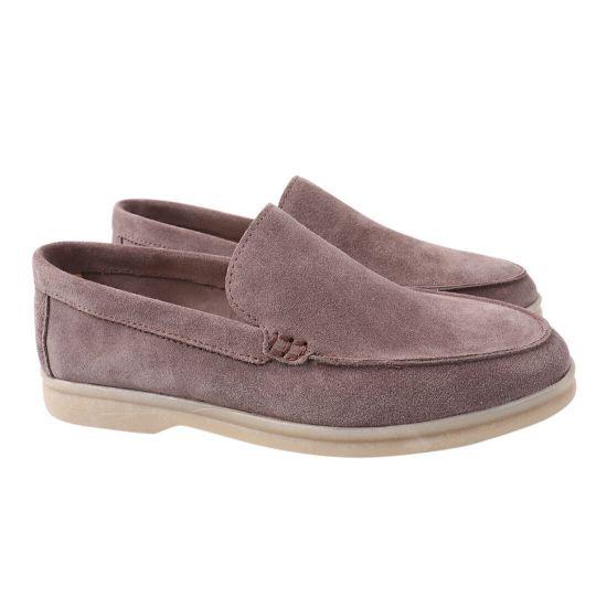 Туфлі жіночі з натуральної замші, на низькому ходу, із закритою п'ятою, колір капучино, Vadrus