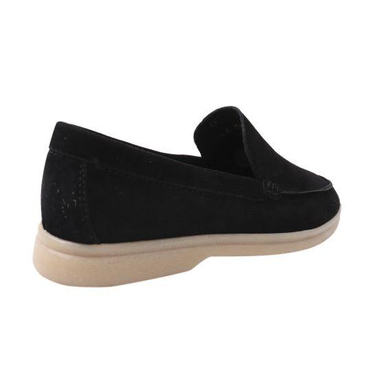 Туфлі жіночі з натуральної замші, на низькому ходу, із закритою п'ятою, колір чорний, Vadrus