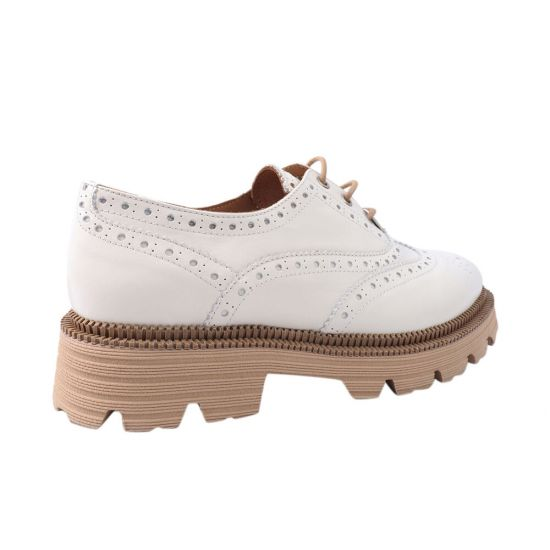 Туфлі жіночі з натуральної шкіри, на платформі, на шнурівці, колір білий, Tucino