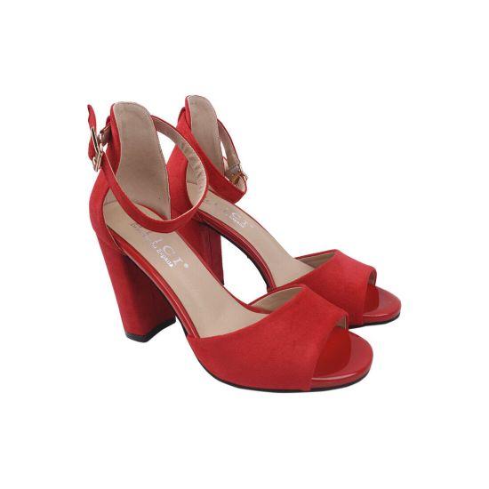 Босоніжки на каблуці жіночі еко замш, колір червоний