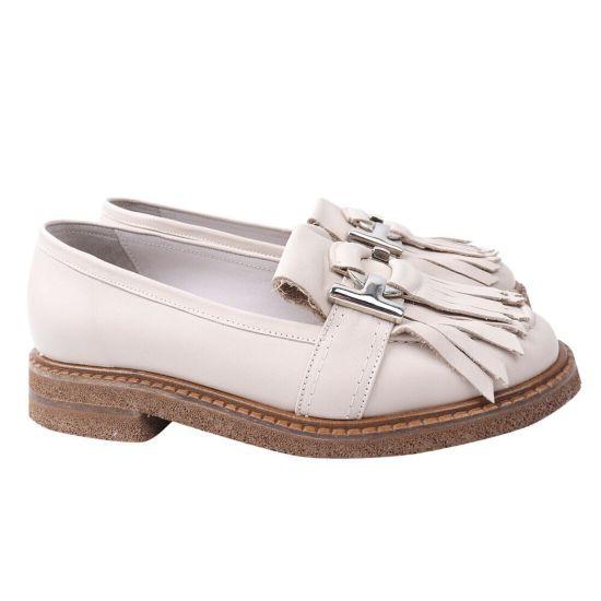 Туфлі жіночі з натуральної шкіри, на низькому ходу, колір бежевий, Aquamarin