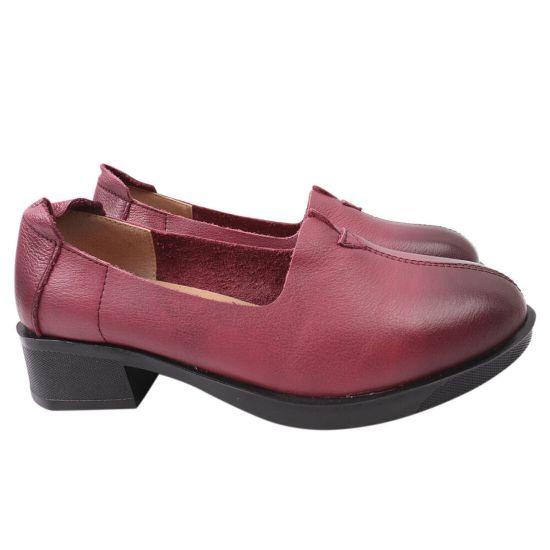 Туфлі жіночі з натуральної шкіри, на низькому каблуці, колір бордовий, Farinni