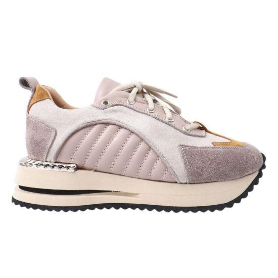 Кросівки жіночі з натуральної замші, на низькому ходу, на шнурівці, бежеві, Aquamarin 1928-21DTS