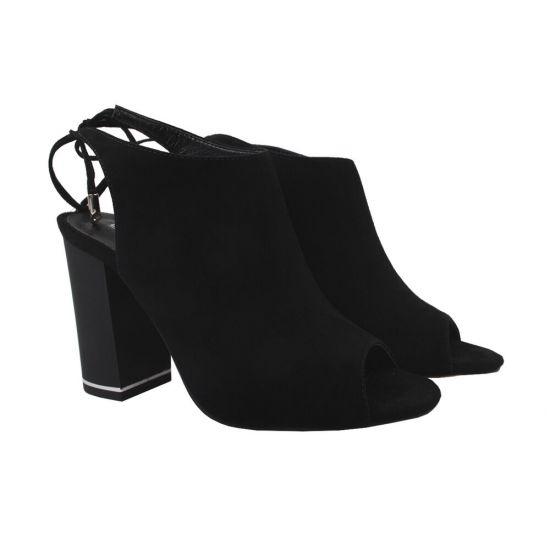Босоніжки жіночі Erisses Натуральна замша, колір чорний