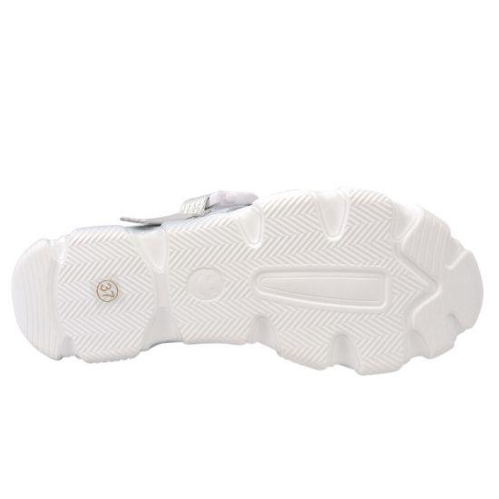 Босоніжки жіночі з натуральної шкіри, на низькому ходу, з відкритою п'ятою, колір білий, Li Fexpert