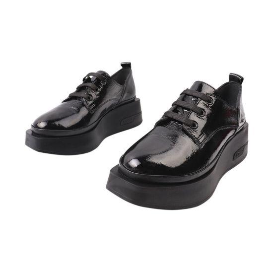 Туфлі жіночі з натуральної лакової шкіри, на платформі, чорні, Туреччина Mario Muzi
