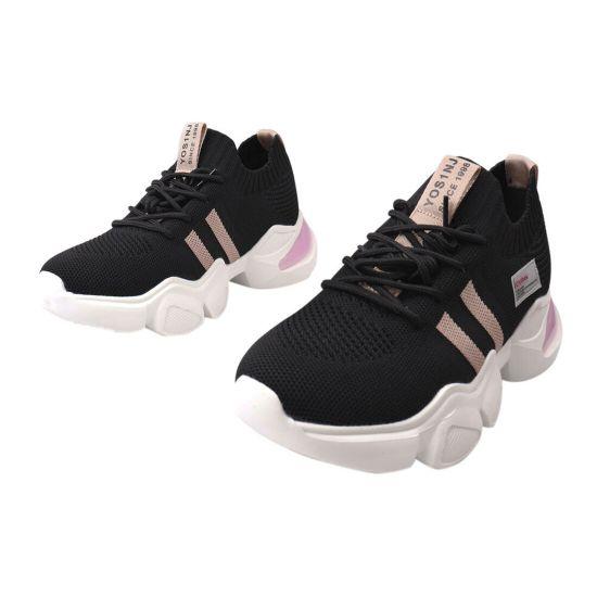 Кросівки жіночі з текстилю, на платформі, чорні, Vikonty