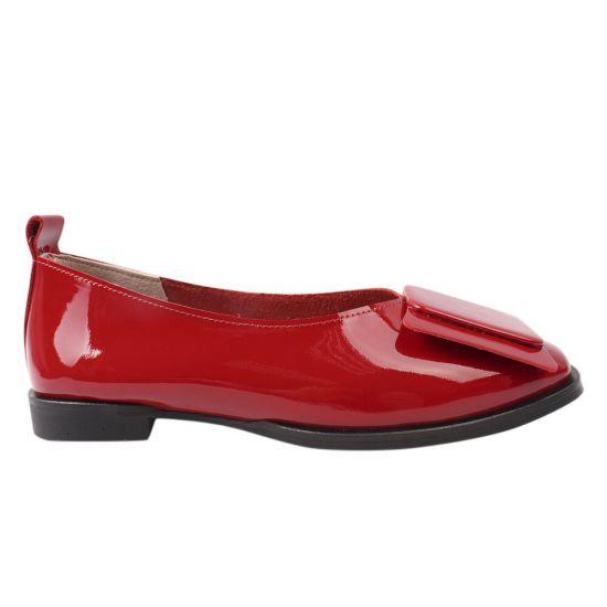 Туфлі жіночі з натуральної лакової шкіри, на низькому ходу, колір червоний, Туреччина Da Cota