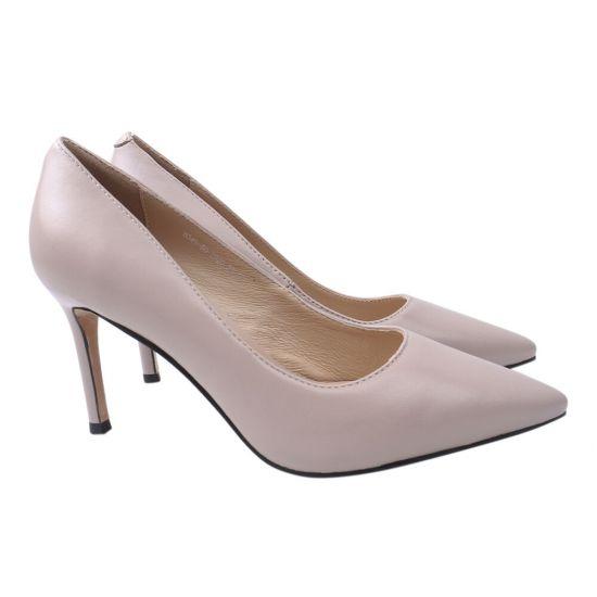 Туфлі жіночі з натуральної шкіри, на шпильці, колір бежевий, Angelo Vani