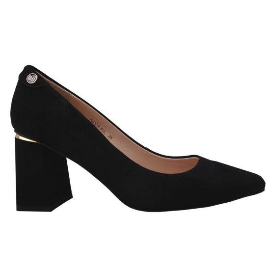 Туфлі жіночі з натуральної замші, на великому каблуці, чорні Anemone