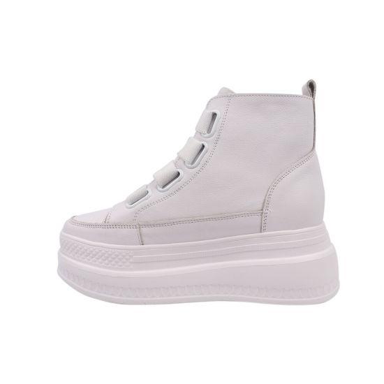 Черевики жіночі з натуральної шкіри, на платформі, на шнурівці, колір білий, Farinni