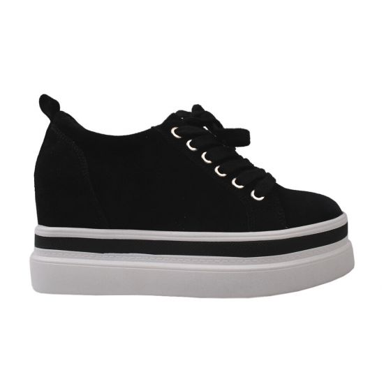 Туфлі спорт жіночі Farinni Натуральна замша, колір чорний