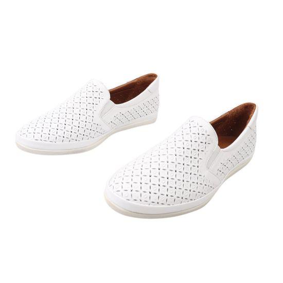 Туфлі жіночі з натуральної шкіри, на низькому ходу, колір білий, Gossi