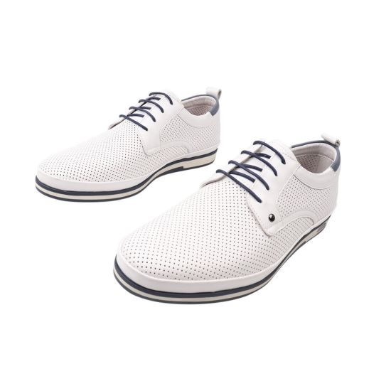 Кеди чоловічі з натуральної шкіри, на низькому ходу, на шнурівці, колір білий, Cosottinni