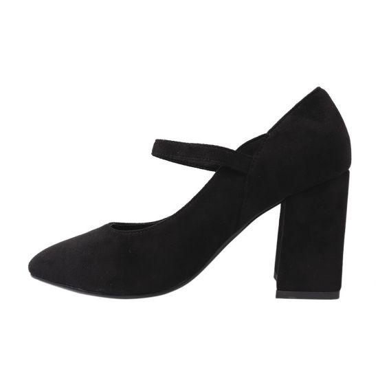 Туфлі жіночі з еко замші, на великому каблуці, чорні, Liici
