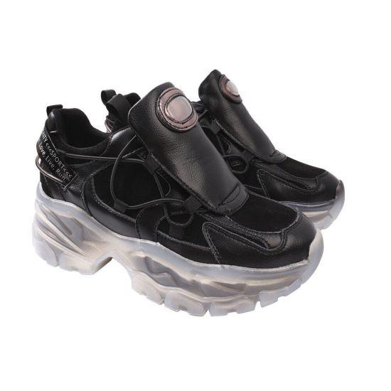 Кросівки жіночі з натуральної замші, на платформі, на шнурівці, чорні, Vikonty 152-20DK
