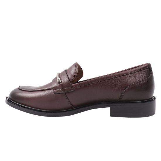 Туфлі жіночі з натуральної шкіри, на низькому ходу, бордові, Anemone