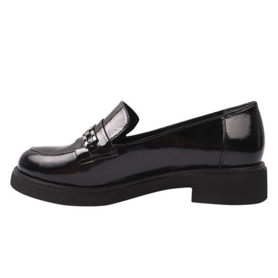 Туфлі жіночі з натуральної лакової шкіри, на низькому ходу, чорні, Туреччина Euromoda