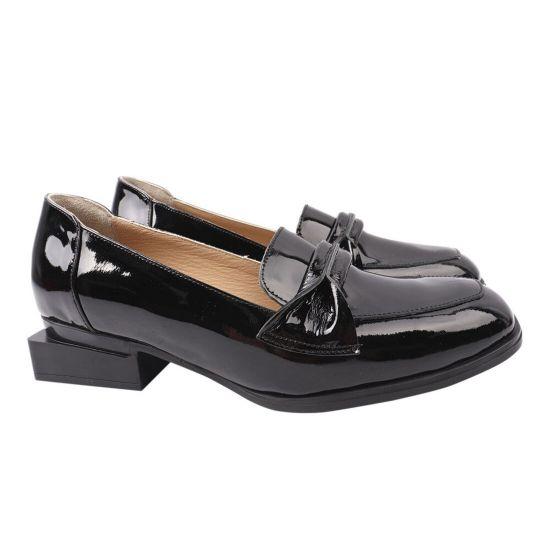 Туфлі жіночі з натуральної лакової шкіри, на низькому ходу, чорні, Туреччина Ripka