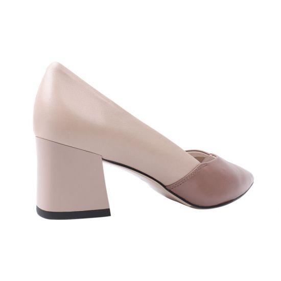 Туфлі жіночі з натуральної шкіри, на підборах, бежеві, Molka