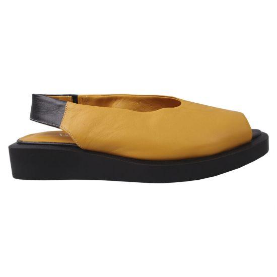 Босоніжки на низькому ходу жіночі Trio Trend натуральна шкіра, колір жовтий
