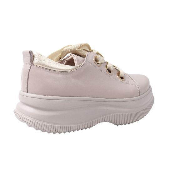 Туфлі жіночі з натуральної шкіри, на платформі, на шнурівці, колір капучино, Marko Rossi