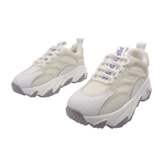 Кросівки жіночі з натуральної шкіри, на низькому ходу, на шнурівці, молочні, Li Fexpert