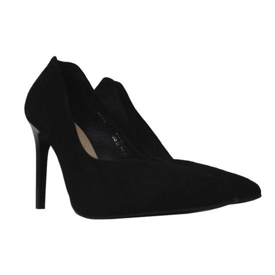 Туфлі жіночі Натуральна замша, колір чорний