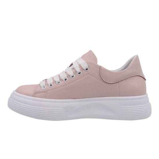 Кеди жіночі з натуральної шкіри, на низькому ходу, на шнурівці, колір рожевий, Україна Kento