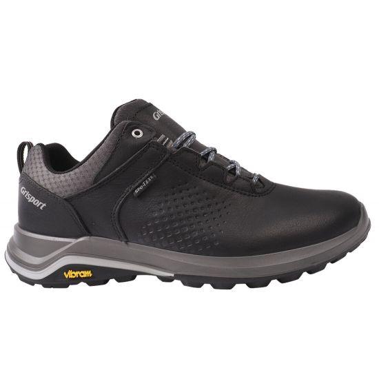 Кросівки чоловічі з натуральної шкіри, на низькому ходу, на шнурівці, чорні, Gri Sport