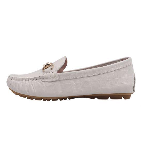 Туфлі жіночі з натуральної шкіри, на низькому ходу, білі, Arees