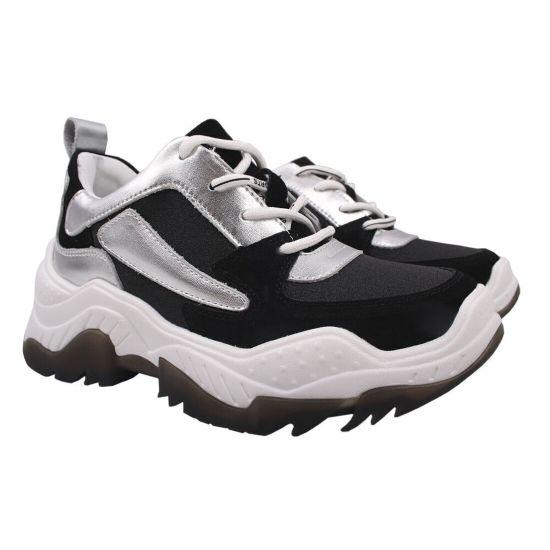 Кросівки жіночі з натуральної замші, на платформі, на шнурівці, чорні Gifanni