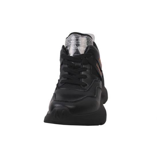 Кросівки жіночі з натуральної шкіри, на платформі, на шурує, чорні, Gifanni