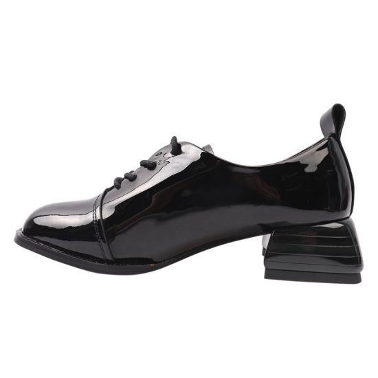 Туфлі жіночі з натуральної шкіри, на підборах, на шнурівці, чорні, Brocoly